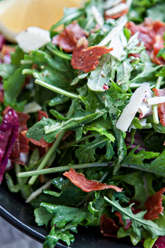 Italian Mixed Greens Salad with Prosciutto and Lemon Dijion Vinaigrette images