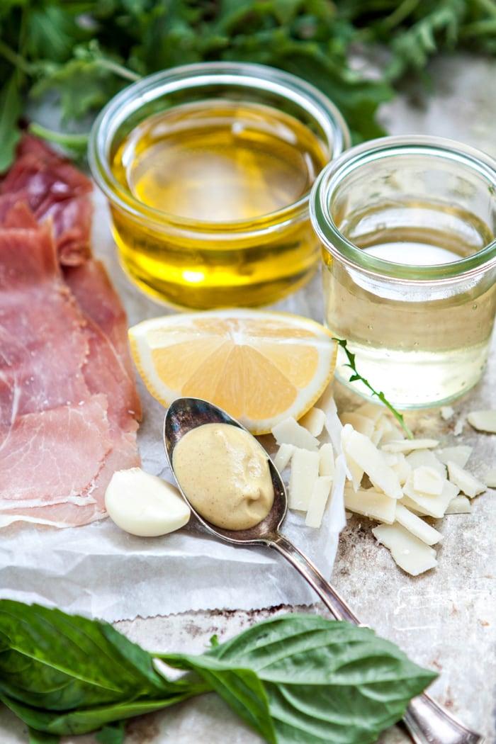 Italian Mixed Greens Salad with Prosciutto and Lemon Dijion Vinaigrette photos