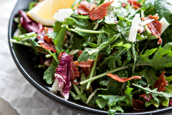 Italian Mixed Greens Salad with Prosciutto and Lemon Dijion Vinaigrette