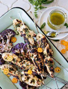 Basil Kumquat Grilled Chicken Skewers with Cauliflower Steaks photo
