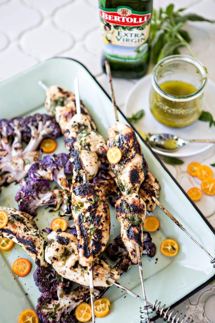 Basil Kumquat Grilled Chicken Skewers with Cauliflower Steaks photos