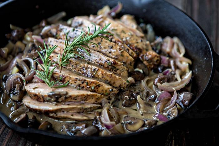 sliced roast pork marsala with creamy mushroom marsala sauce