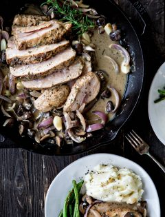 Roasted Pork with Mushrooms in a Creamy Roasted Garlic Rosemary Marsala Sauce
