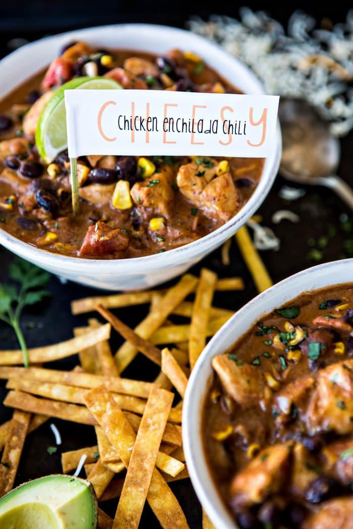 Cheesy Chicken Enchilada Chili Recipe
