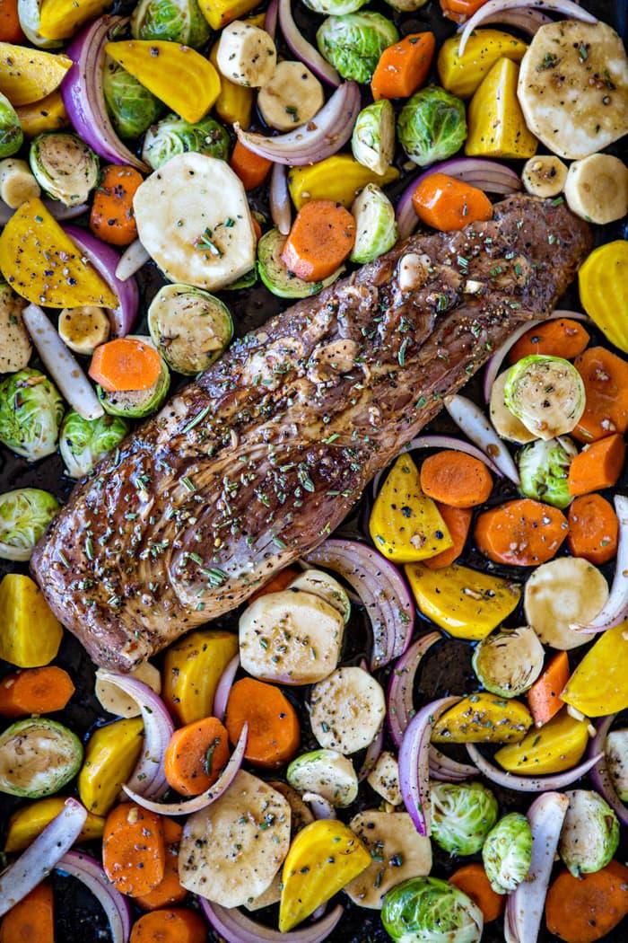 Fall Sheet Pan Pork Tenderloin with Honey Balsamic Roasted Vegetables