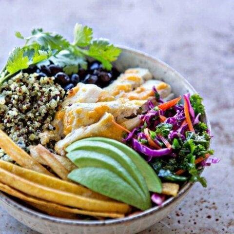 Fish Taco Quinoa Bowls with Cilantro Lime Kale Slaw