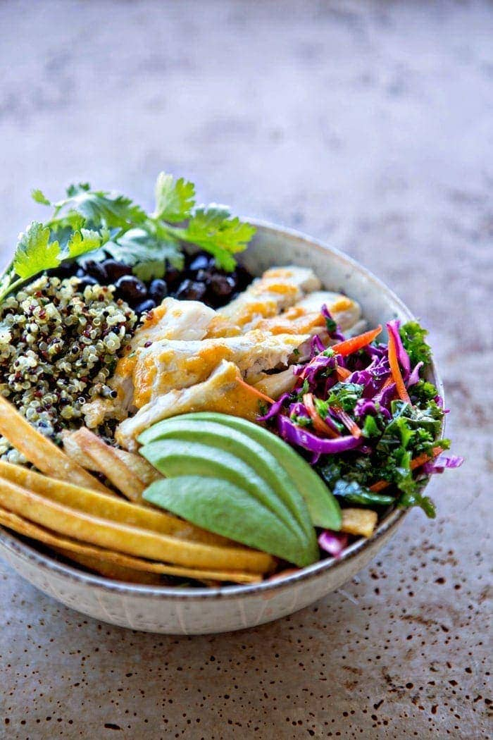 Fish Taco Quinoa Bowls with Cilantro Lime Kale Slaw recipe
