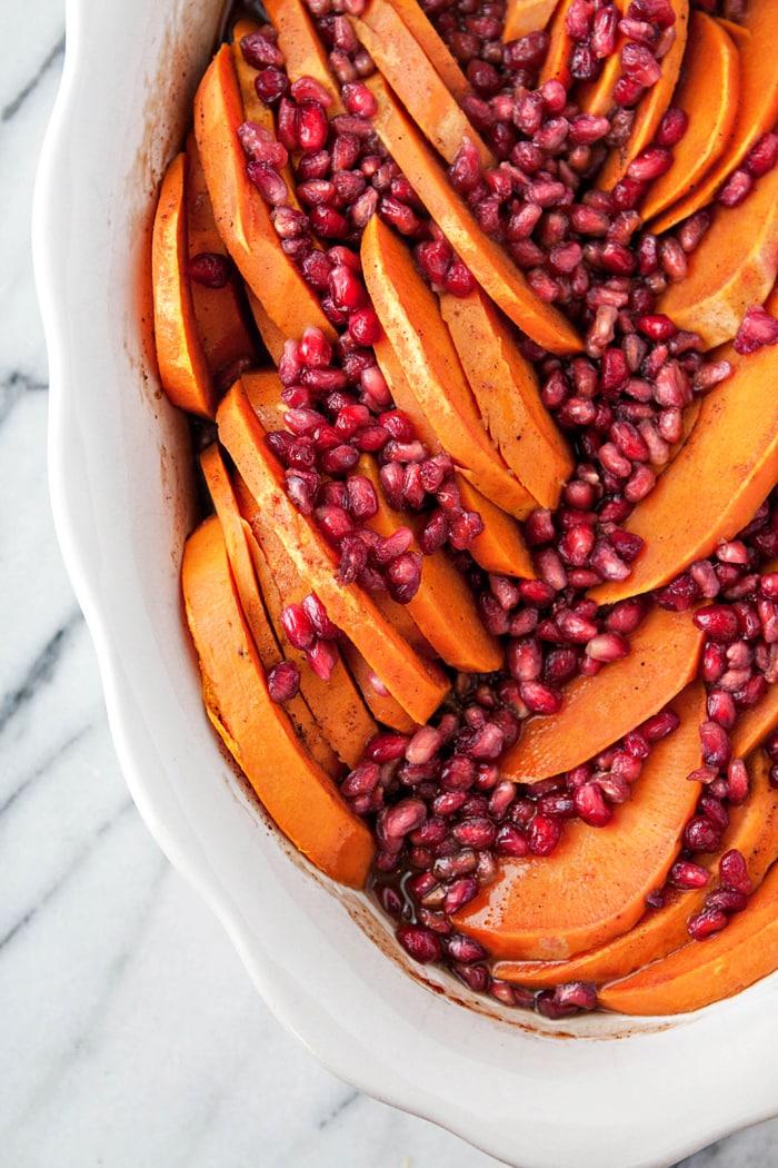 Baked Sweet Potatoes with Pomegranate - Thanksgiving Sweet Potato Recipe