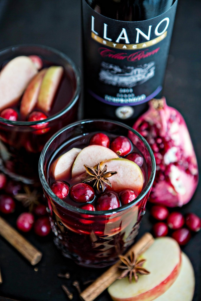 two glasses of hot mulled wine