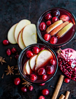 Spiced Pomegranate Apple Cider Mulled Wine Sangria recipe and photo fall cocktail - this would be a great cocktail for Thanksgiving