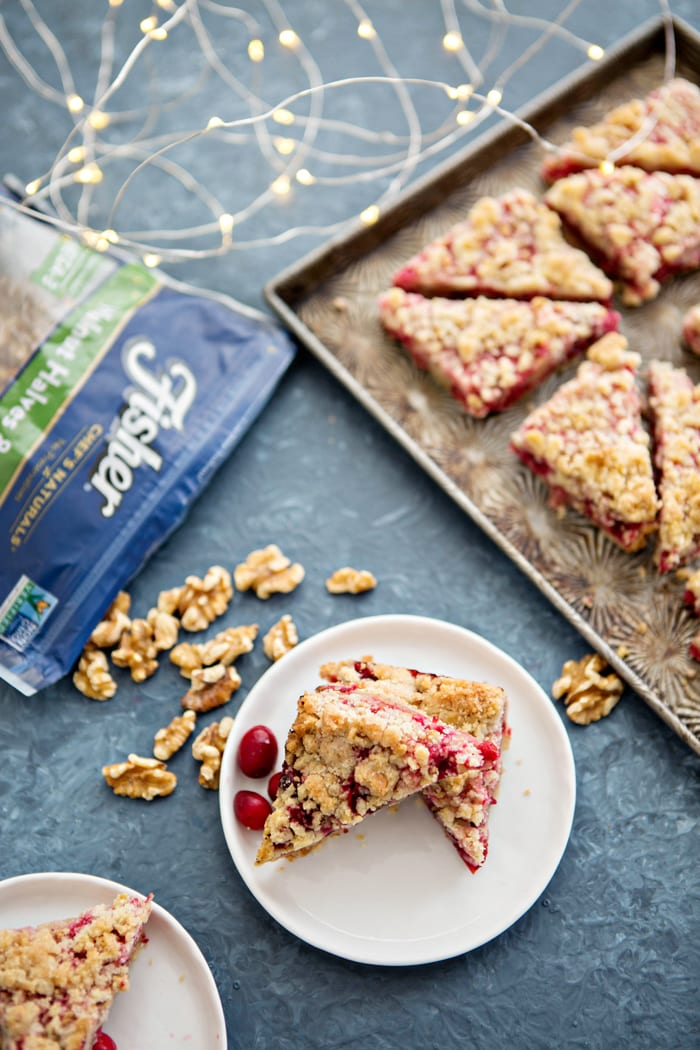 cranberry bars on white plate