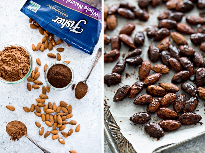 oven roasted almonds coated in mocha flavoring