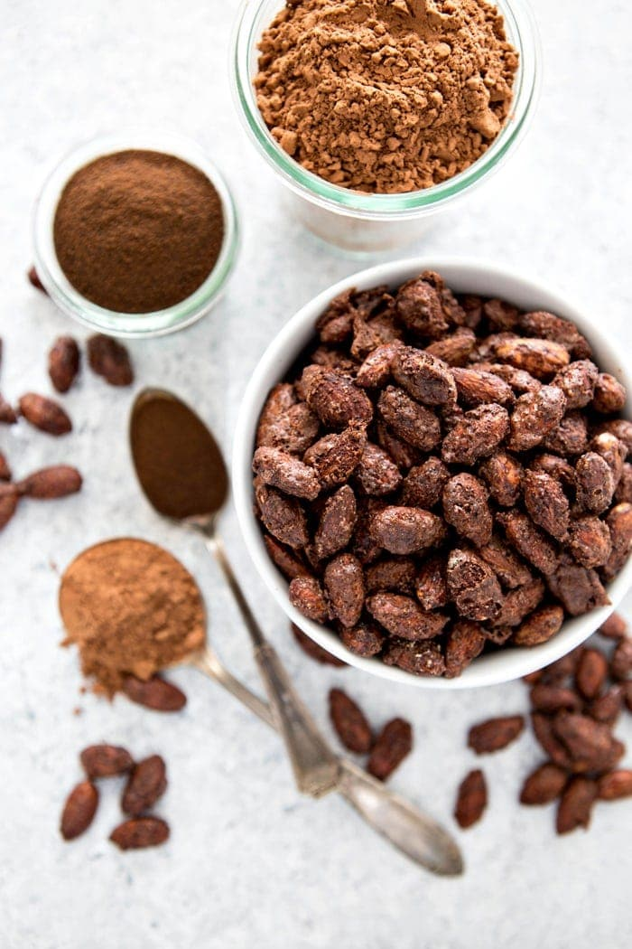 Mocha Roasted Almonds are an incredibly easy snack to make that will help you satisfy your sweet tooth without ransacking your healthy snacking goals. They also make great homemade holiday gifts and Christmas Candies.