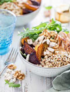 Chicken, Beet, and Arugula Quinoa Bowl with Walnut Sherry Molasses Vinaigrette