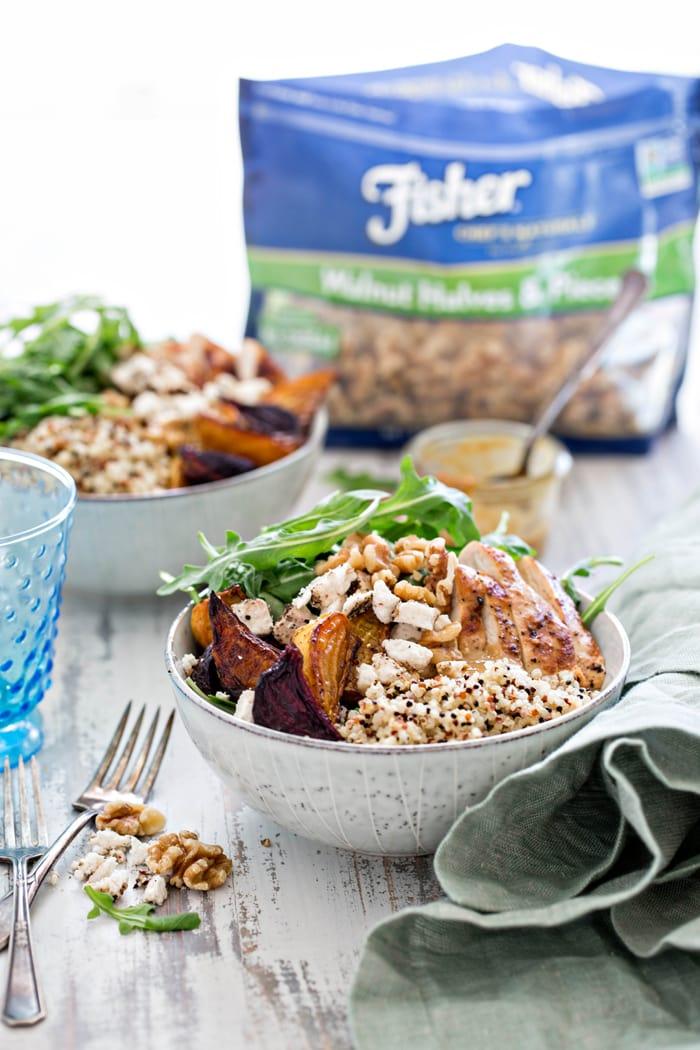 Chicken, Beet, and Arugula Quinoa Bowl with Walnut Sherry Molasses Vinaigrette