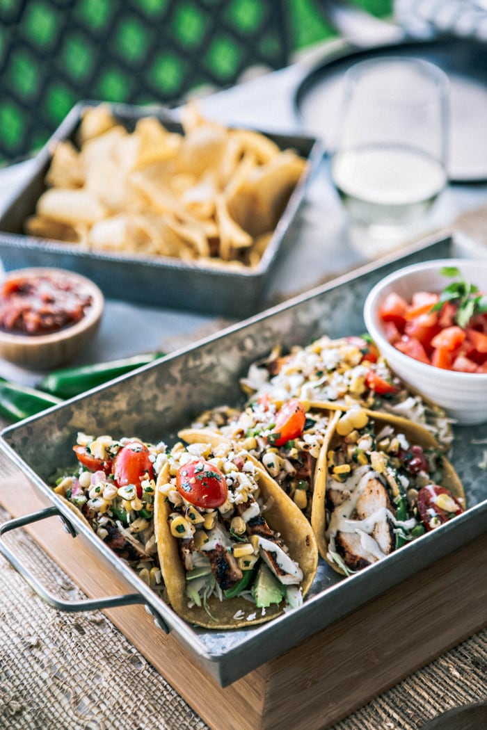 Chicken Tacos with Grilled Corn Tomato Salsa images and recipe
