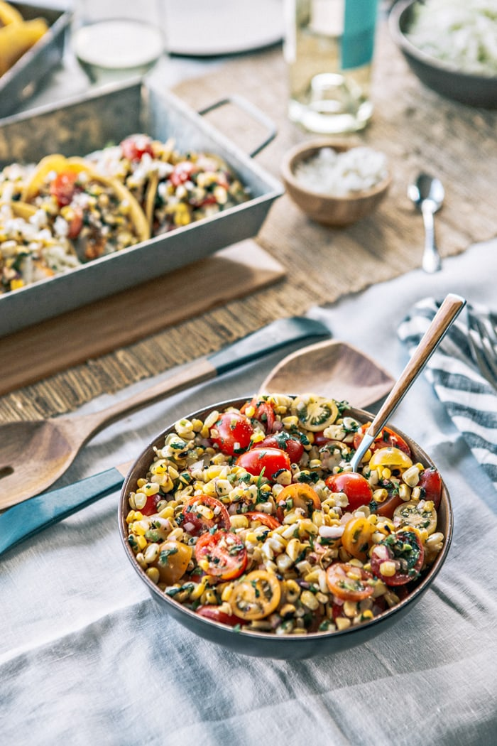 Chicken Tacos with Grilled Corn Tomato Salsa recipe and photo