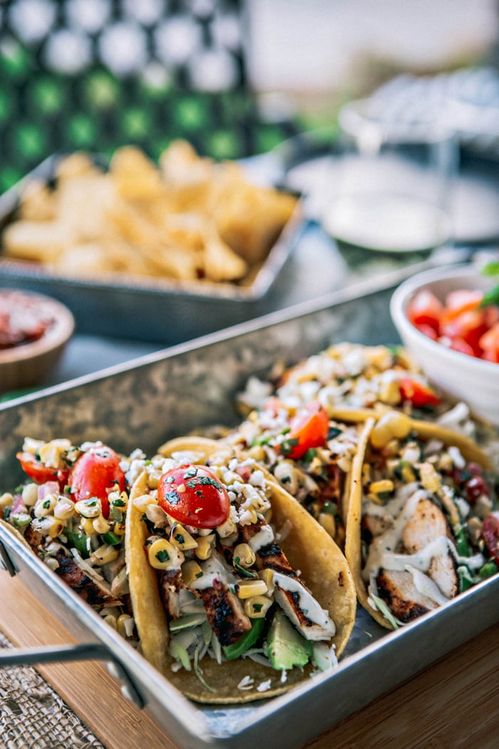 Chicken Tacos with Grilled Corn Tomato Salsa