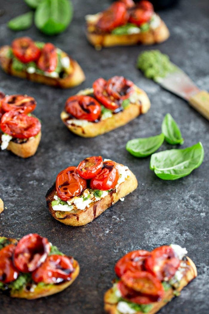 Roasted Tomato Crostini with Walnut Almond Pesto and Goat Cheese