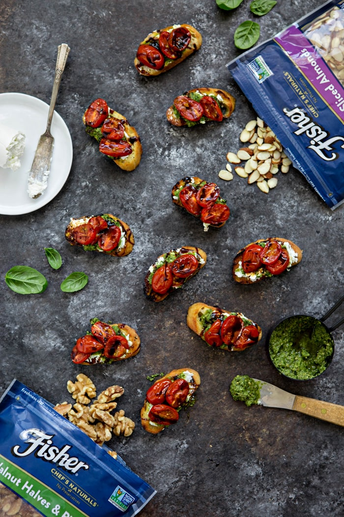 Roasted Tomato Crostini with Walnut Almond Pesto and Goat Cheese photo and recipe