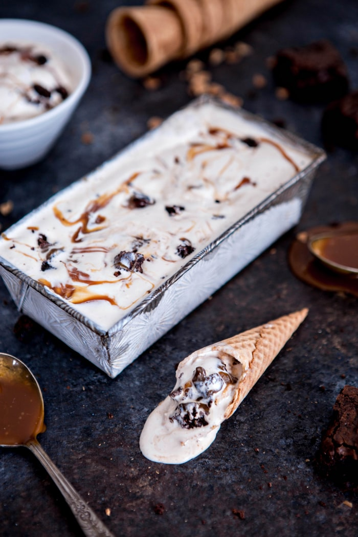 NO CHURN BROWNIE CHUNK ICE CREAM WITH VANILLA BOURBON CARAMEL recipe image