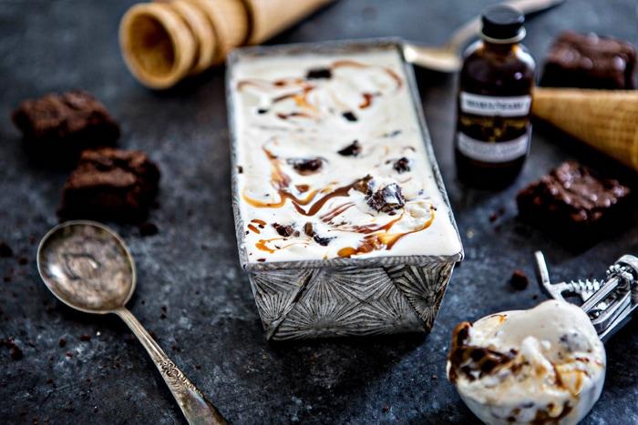 No Churn Brownie Chunk Ice Cream with Vanilla Bourbon Caramel