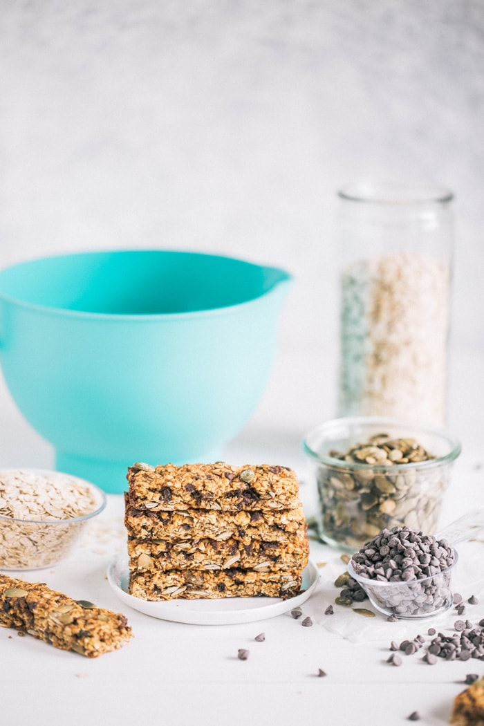 Pampered Chef Classrom Kitchen Kit Photo with recipe for Pumpkin Chai Chocolate Chip Granola Bars