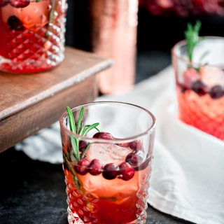 Cranberry Rosemary Shrub Cocktail with Bourbon