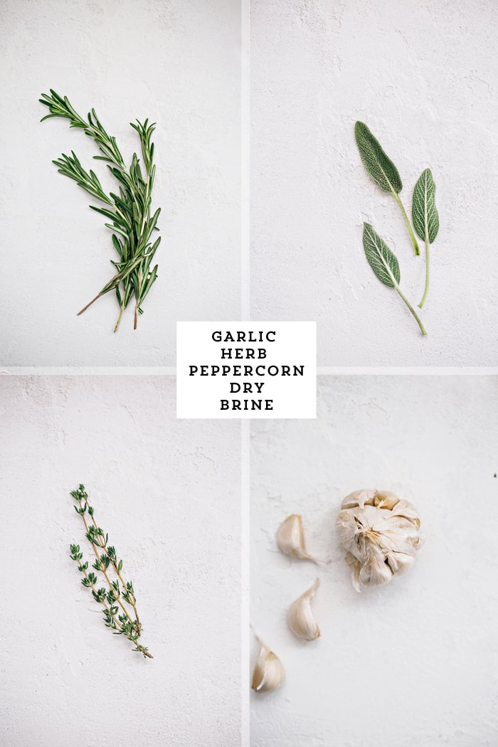Recipe for Garlic Herb Peppercorn Dry Brine for Turkey - fresh rosemary sage thyme