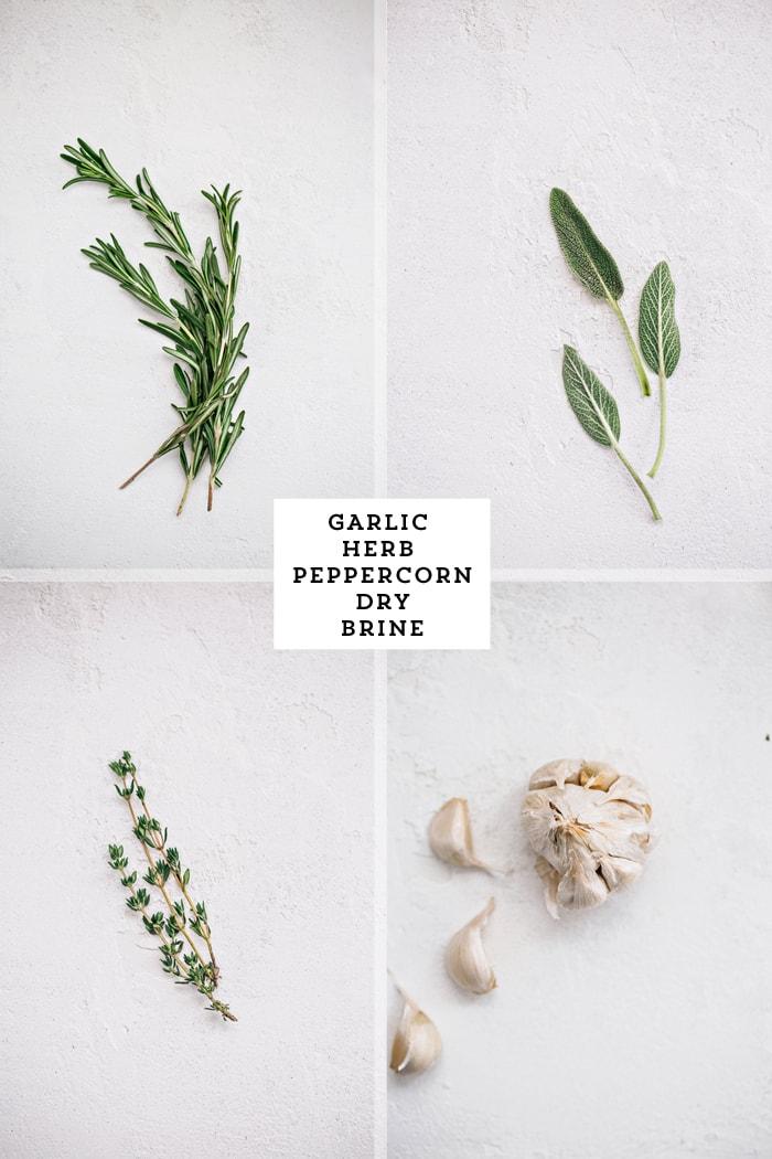 fresh herbs meant for turkey dry brine