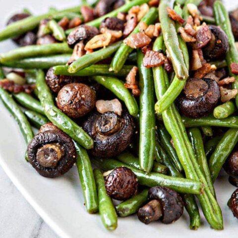 Garlic Bacon Sautéed Green Beans with Roasted Mushrooms