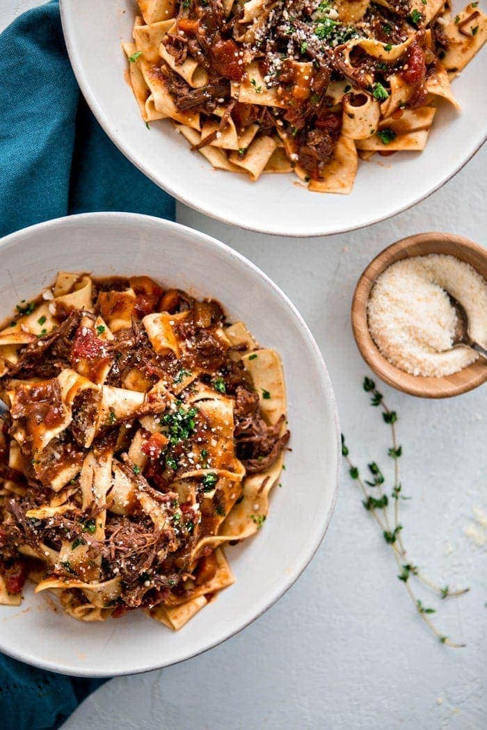 Instant Pot Italian Beef Ragu with Pappardelle: Chuck roast is cooked until tender with garlic, herbs, and plenty of tomatoes in this Instant Pot Italian Beef Ragu with Pappardelle for a delicious and hearty family pasta night recipe.