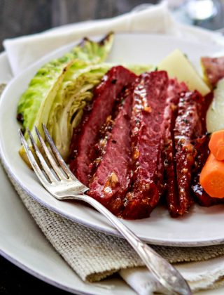 This Honey Marmalade Mustard Glazed Corned Beef is a fun take on the traditional St. Patrick's Day meal. Rather than stewing in the crock pot all day, the Corned Beef is braised with plenty of seasonings before broiling in the oven with a delicious Honey Marmalade Mustard Glaze.