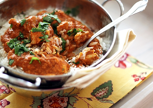 Indian Butter Chicken with Basmati Rice and Homemade Naan