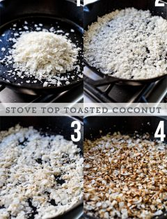 toasted coconut in a cast iron pan