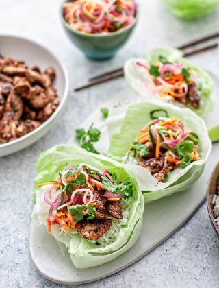 lettuce wrap on plate