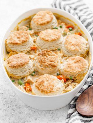 white casserole dish with chicken pot pie