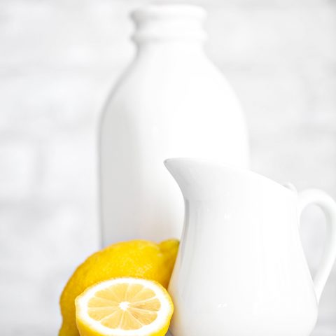 lemon and pitcher of milk