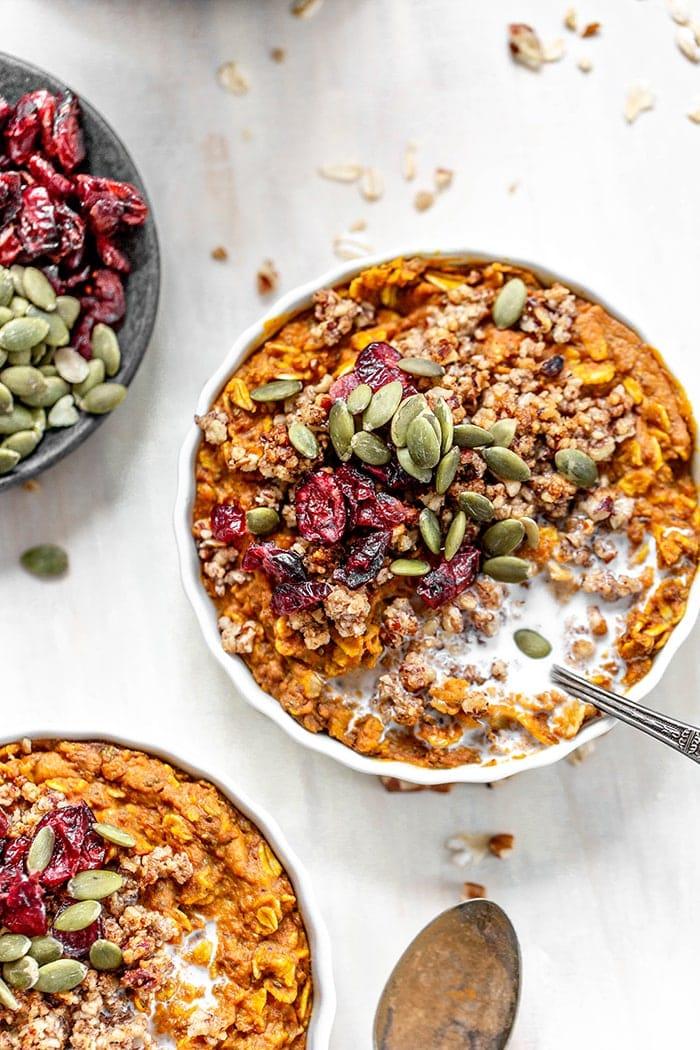 ramekin of pumpkin baked oatmeal