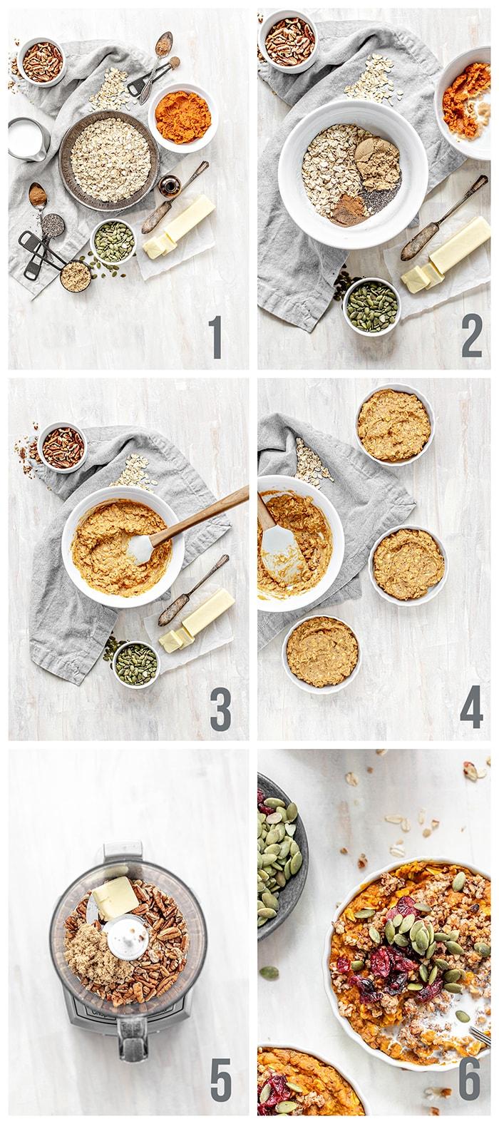 step by step how to make pumpkin baked oatmeal
