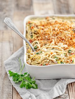turkey tetrazzini in a baking dish