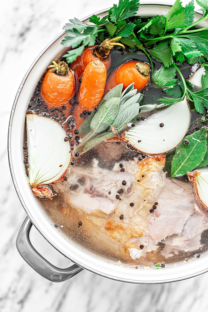 turkey stock in pot