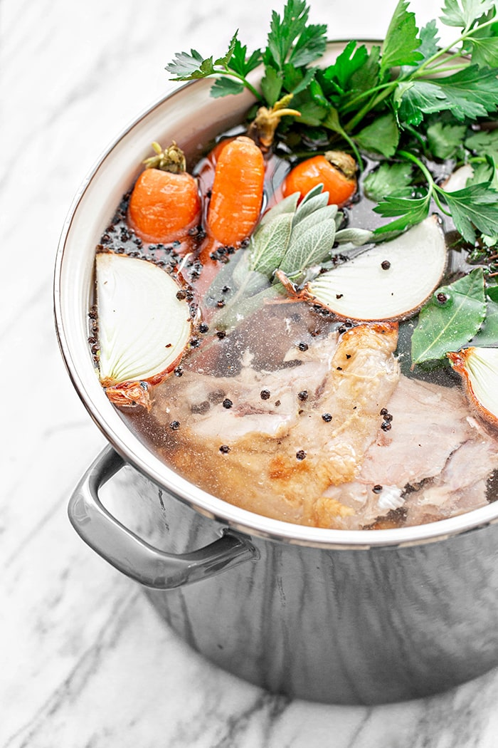 turkey stock in a pot