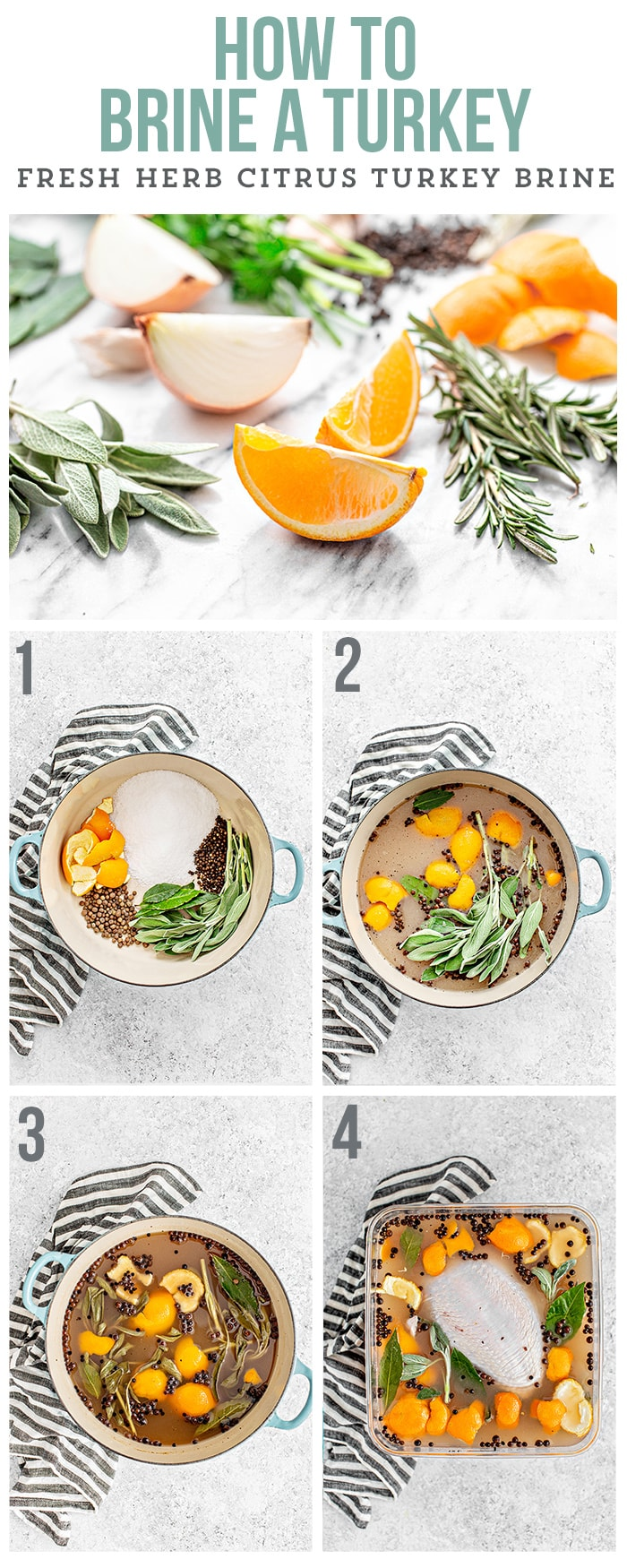 step by step images of how to citrus brine a turkey
