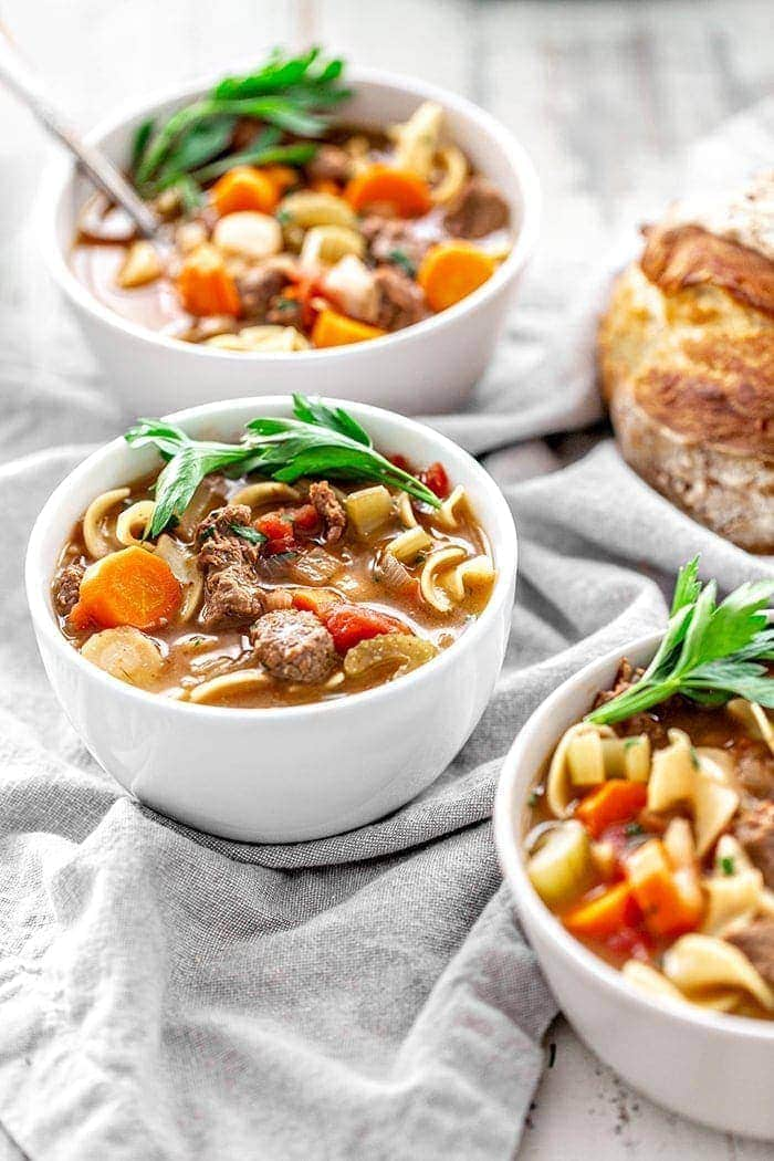 bowl of beef and noodle soup