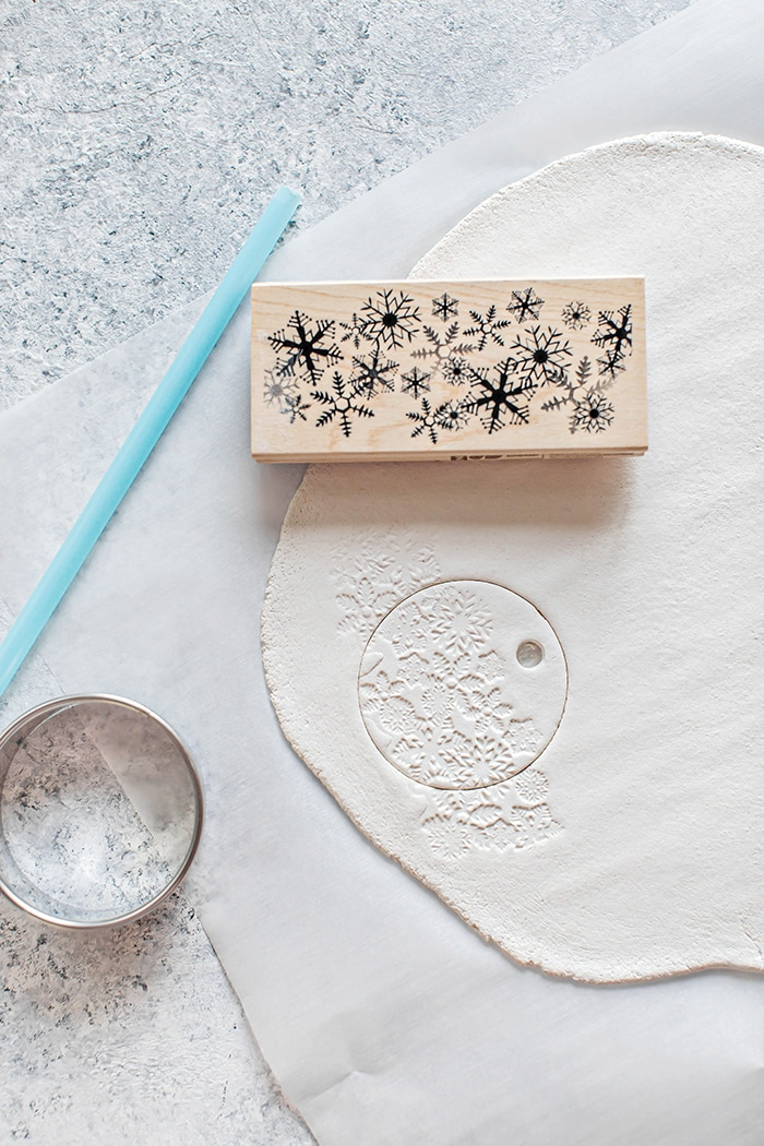 salt dough with stamp and cookie cutter