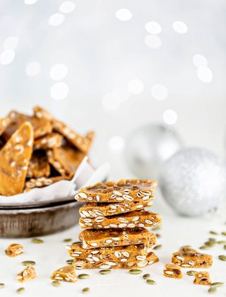 stack of brittle on white background