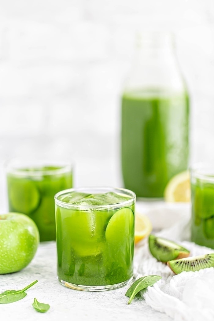 glasses of green juice