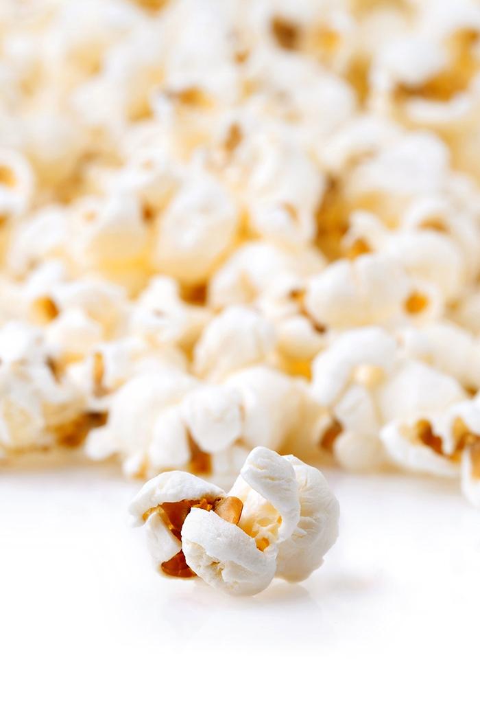close up of popcorn