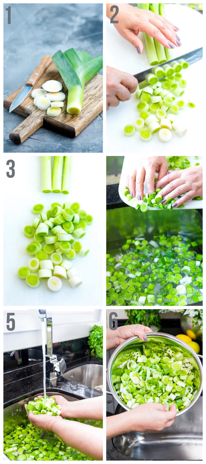 step by step photos of how to clean leeks